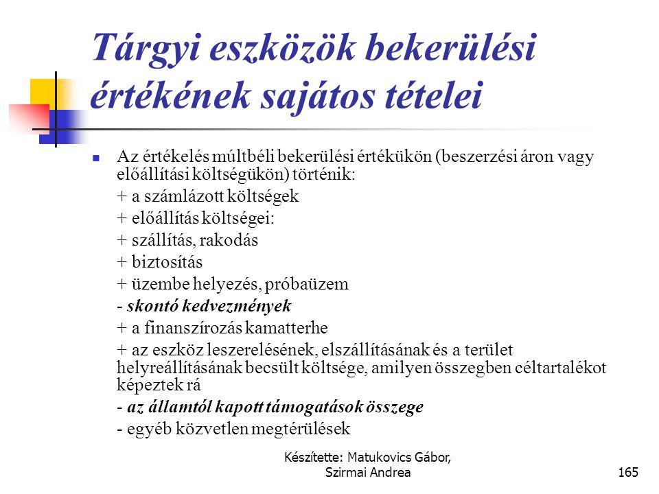 Készítette: Matukovics Gábor, Szirmai Andrea164 Telkek bekerülési értéke  A telkek értékelése múltbéli bekerülési értékükön (beszerzési áron) történi
