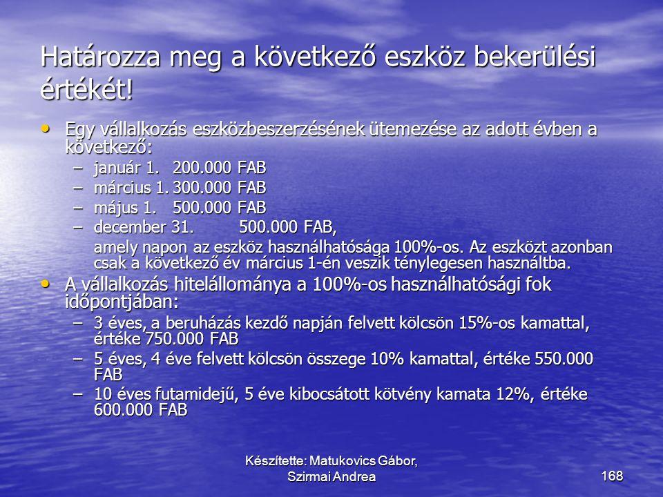 Készítette: Matukovics Gábor, Szirmai Andrea167 A finanszírozás kamatterhe  A finanszírozás kamatterhe aktiválandó!  Ha az eszköz beszerzéséhez kapc