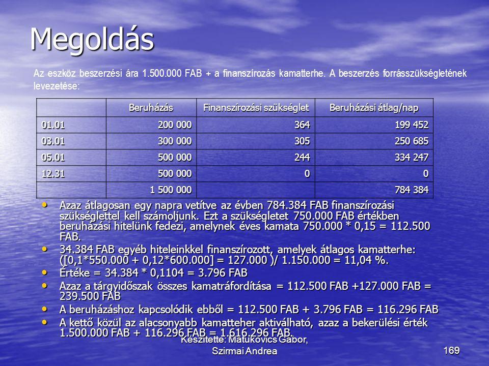 Készítette: Matukovics Gábor, Szirmai Andrea168 Határozza meg a következő eszköz bekerülési értékét! • Egy vállalkozás eszközbeszerzésének ütemezése a