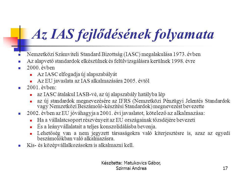 Készítette: Matukovics Gábor, Szirmai Andrea16 IFRS (IAS) standardok