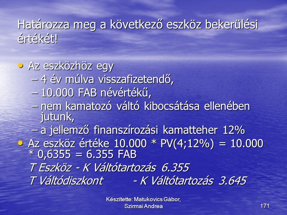 Készítette: Matukovics Gábor, Szirmai Andrea170 Egyéb sajátosságok  Eszközfelvásárlások esetén a csomagár beszerzési árát a csomagban szereplő egyes