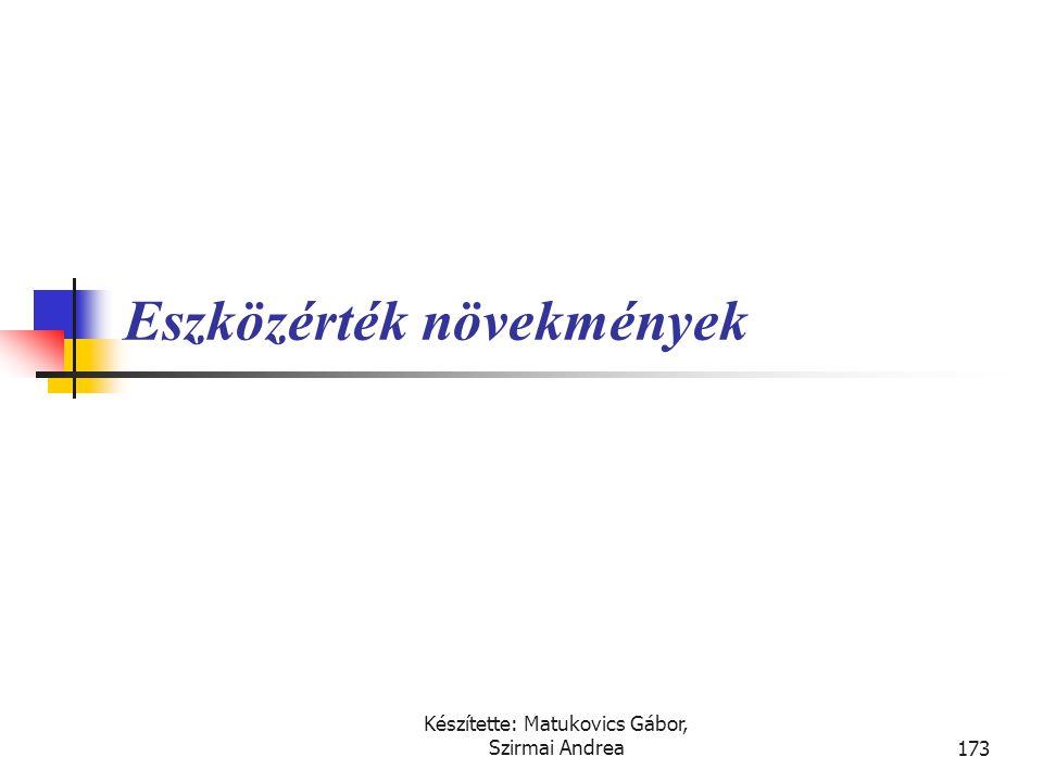 Készítette: Matukovics Gábor, Szirmai Andrea172 Határozza meg a következő eszköz bekerülési értékét! • A telek és épület csomagért a vállalkozás 100 F