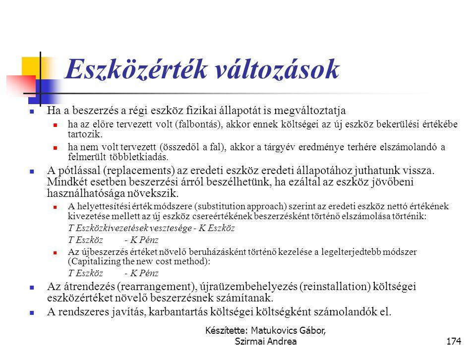 Készítette: Matukovics Gábor, Szirmai Andrea173 Eszközérték növekmények