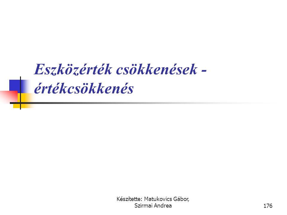 Készítette: Matukovics Gábor, Szirmai Andrea175 Átértékelés  A valós értéken történő értékelés jelentőssége:  múltbeli értékelés módszere nem kezeli