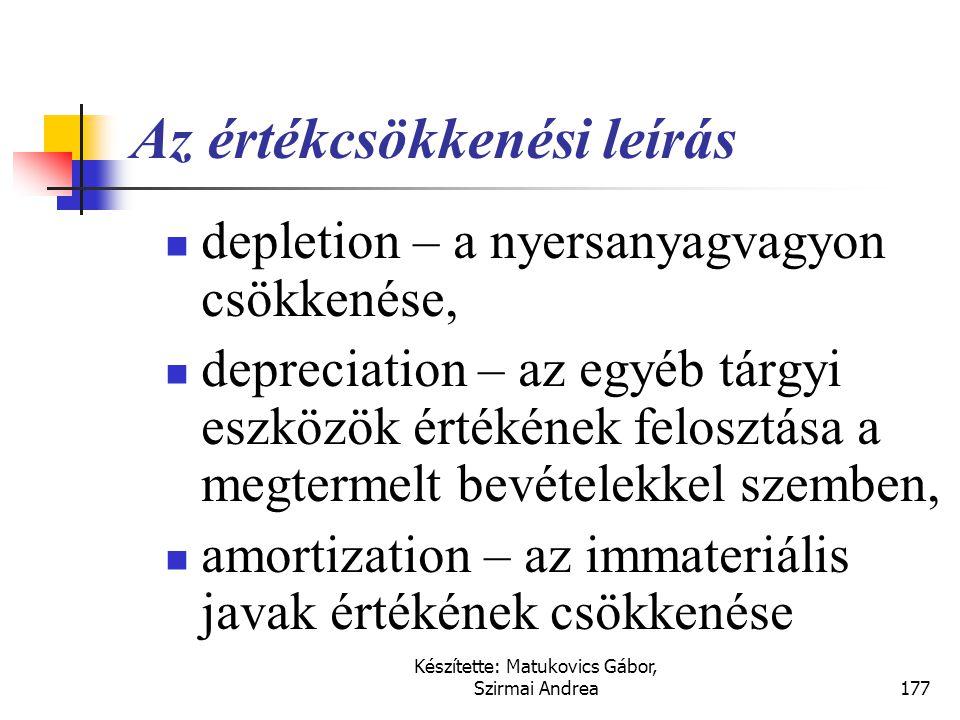 Készítette: Matukovics Gábor, Szirmai Andrea176 Eszközérték csökkenések - értékcsökkenés