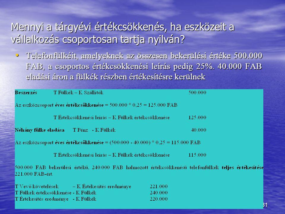 Készítette: Matukovics Gábor, Szirmai Andrea180 Módszerek  teljesítményarányos (activity method)  lineáris (straight-line)  csökkenő mértékű (decre