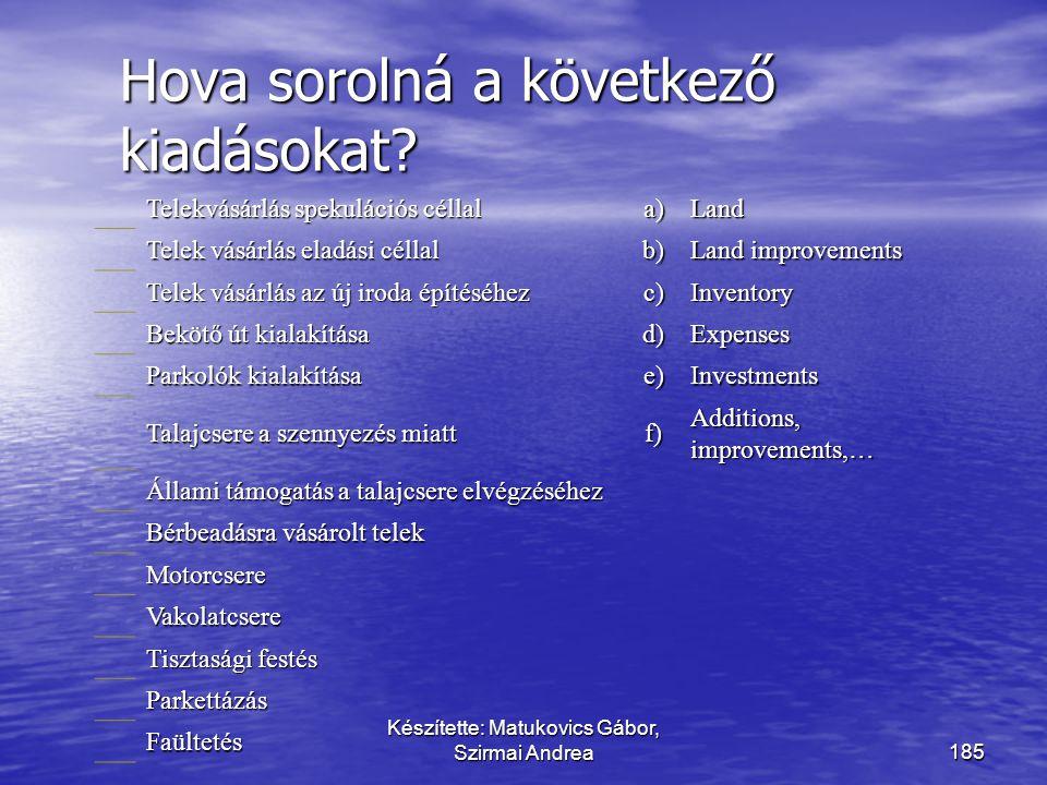 Készítette: Matukovics Gábor, Szirmai Andrea184 Példa MegnevezésBekerülési érték Piaci árMegnevezés4 év múlva Tárgyi eszköz800 Beruházás1200 Piaci árn