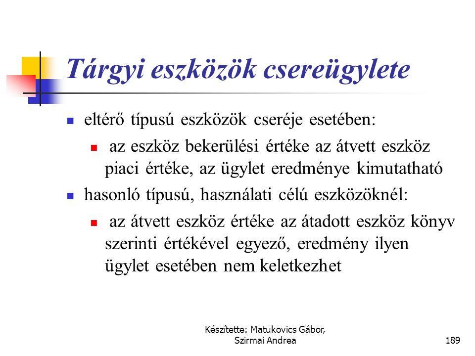 Készítette: Matukovics Gábor, Szirmai Andrea188 Csereügyletek