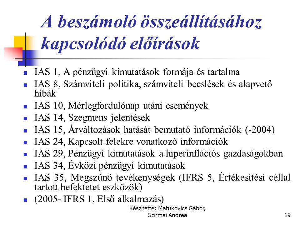 Készítette: Matukovics Gábor, Szirmai Andrea18 Az IAS felépítése  Keretelvek (Framework), a hatályban lévő IAS és IFRS standardok.  A standardok fel
