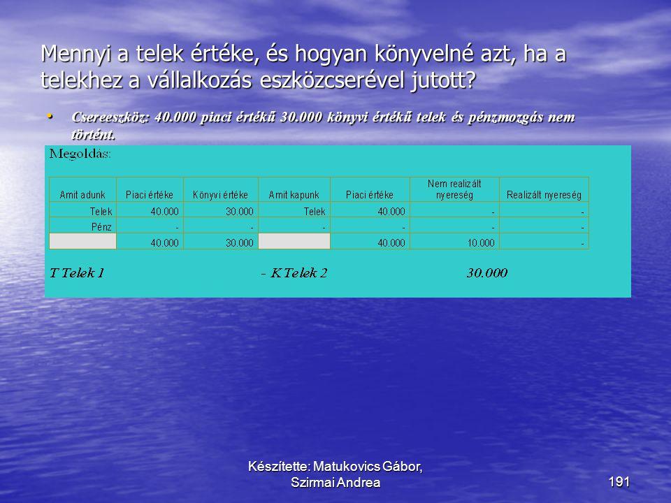 Készítette: Matukovics Gábor, Szirmai Andrea190 Mennyi a telek értéke, és hogyan könyvelné azt, ha a telekhez a vállalkozás eszközcserével jutott? • C