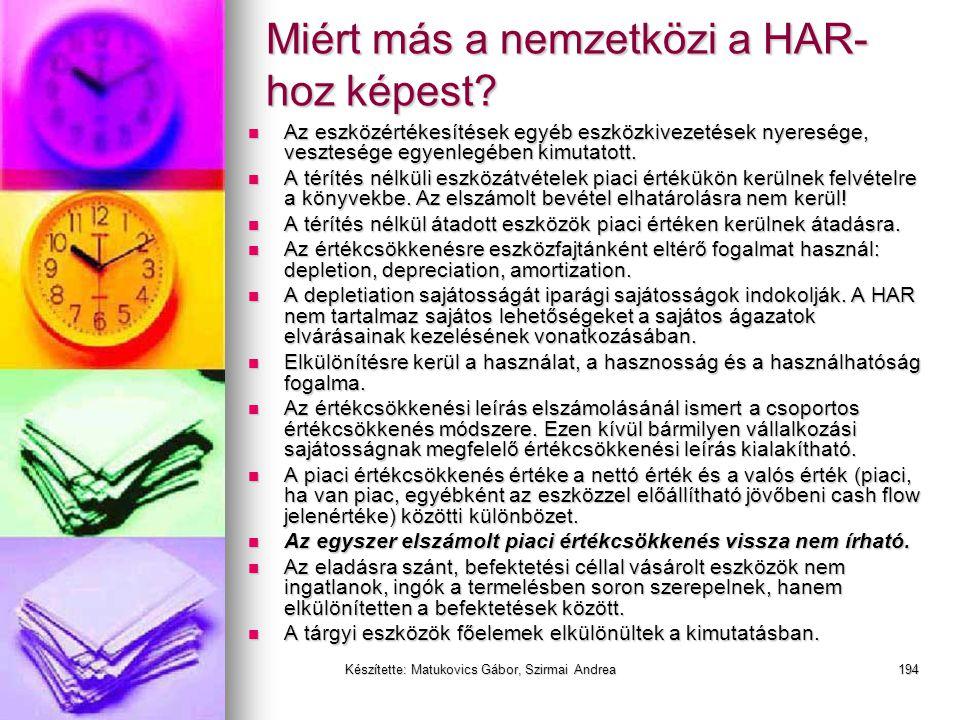 Készítette: Matukovics Gábor, Szirmai Andrea193 Miért más a nemzetközi a HAR- hoz képest?  A telek beszerzési árát növeli a régi épület bontási költs