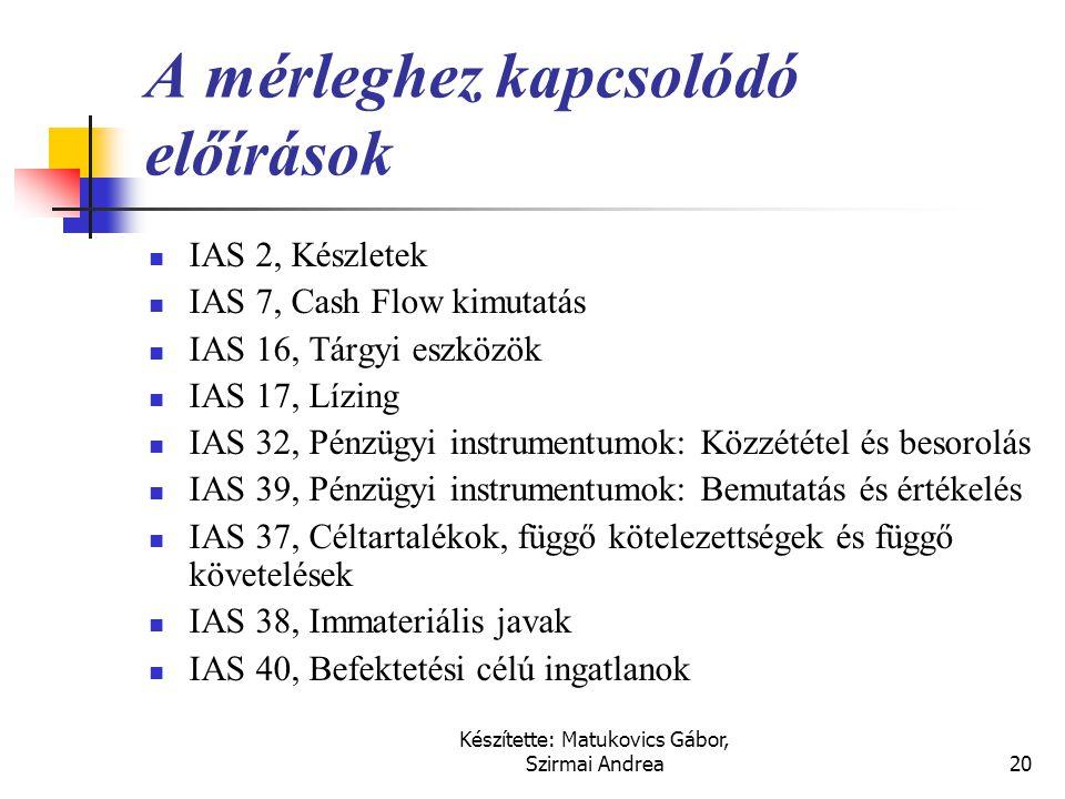 Készítette: Matukovics Gábor, Szirmai Andrea19 A beszámoló összeállításához kapcsolódó előírások  IAS 1, A pénzügyi kimutatások formája és tartalma 