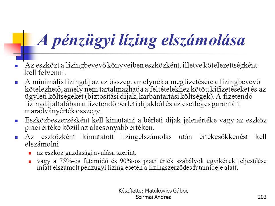 Eszköz Pénzügyi lízing Lízingbe adó Eladásként kezeli 1 Lízingbe vevő Vásárlásként kezeli 1 Vagyis kivezeti a lízingbe adott eszközt, de nem feltétlen