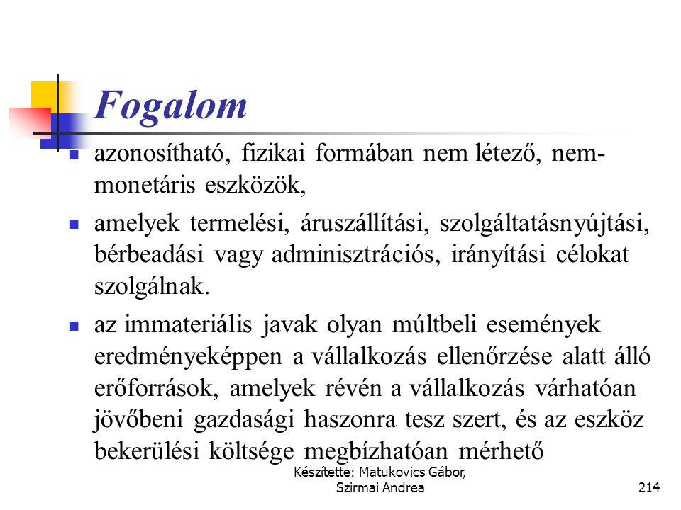 Készítette: Matukovics Gábor, Szirmai Andrea213 Fontosabb kapcsolódó nemzetközi szabályok  IFRS (IAS)  IAS 38., Immateriális javak  US GAAP  SFAS
