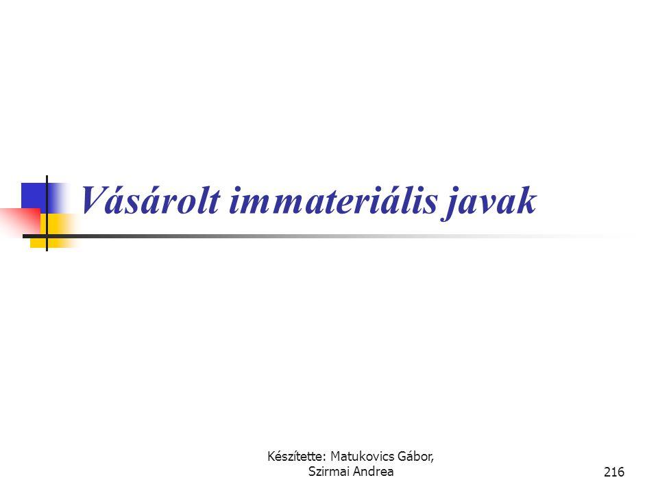 Készítette: Matukovics Gábor, Szirmai Andrea215 Immateriális javak értékelése Vásárolt eszközök Beszerzési áron értékelt A vállalkozás által létrehozo