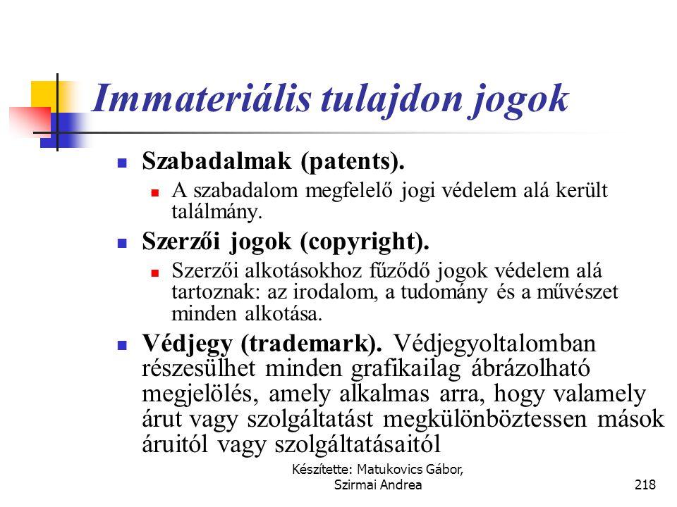 Készítette: Matukovics Gábor, Szirmai Andrea217 Immateriális használati jogok Tulajdonjog elemei Birtoklás jogaHasznok szedésének joga Rendelkezési jo