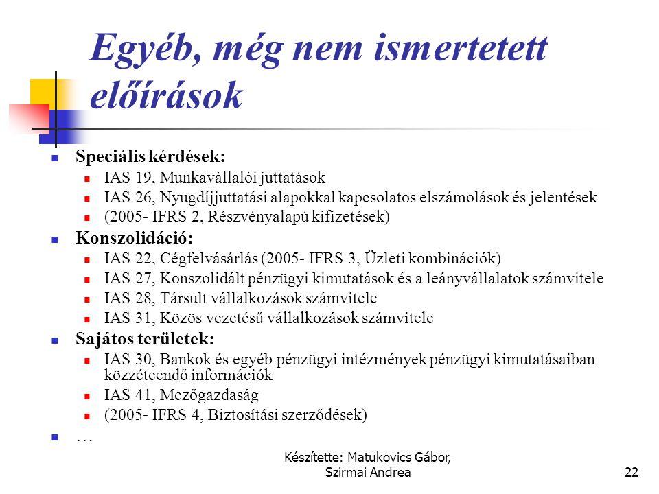 Készítette: Matukovics Gábor, Szirmai Andrea21 Az eredménykimutatáshoz kapcsolódó előírások  IAS 18, Bevétel  IAS 12, Jövedelemadók  IAS 11, Építés