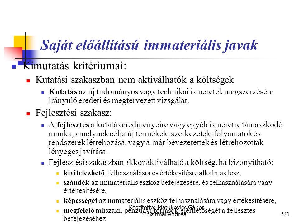 Készítette: Matukovics Gábor, Szirmai Andrea220 Saját előállítású immateriális javak