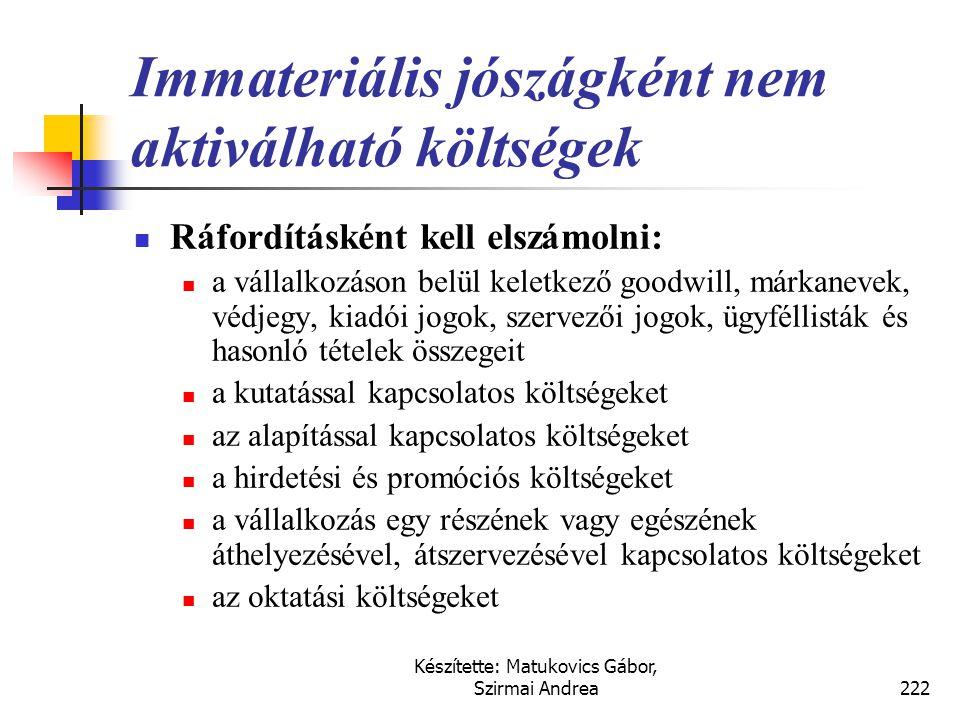 Készítette: Matukovics Gábor, Szirmai Andrea221 Saját előállítású immateriális javak  Kimutatás kritériumai:  Kutatási szakaszban nem aktiválhatók a