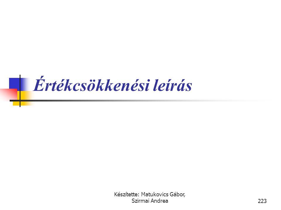 Készítette: Matukovics Gábor, Szirmai Andrea222 Immateriális jószágként nem aktiválható költségek  Ráfordításként kell elszámolni:  a vállalkozáson