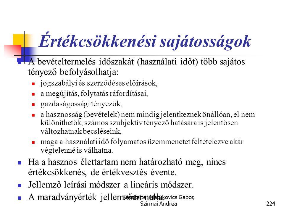 Készítette: Matukovics Gábor, Szirmai Andrea223 Értékcsökkenési leírás