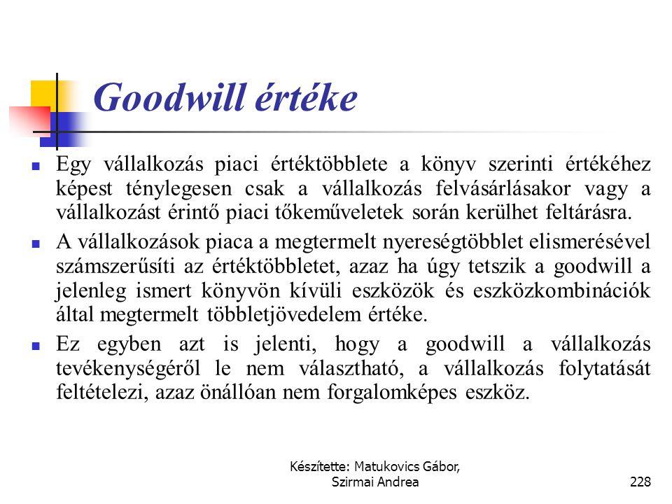 Készítette: Matukovics Gábor, Szirmai Andrea227 …  A vállalkozás kiemelt erőforrásainak értéke:  képzett munkaerő,  munkafegyelem,  szakértelem, 