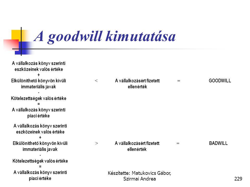 Készítette: Matukovics Gábor, Szirmai Andrea228 Goodwill értéke  Egy vállalkozás piaci értéktöbblete a könyv szerinti értékéhez képest ténylegesen cs