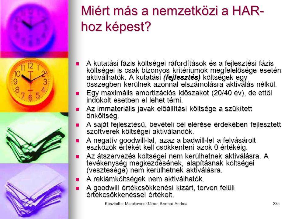 Készítette: Matukovics Gábor, Szirmai Andrea234 HAR vs IFRS (IAS) vs US GAAP