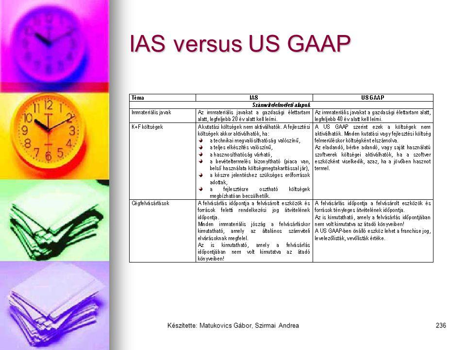 Készítette: Matukovics Gábor, Szirmai Andrea235 Miért más a nemzetközi a HAR- hoz képest?  A kutatási fázis költségei ráfordítások és a fejlesztési f