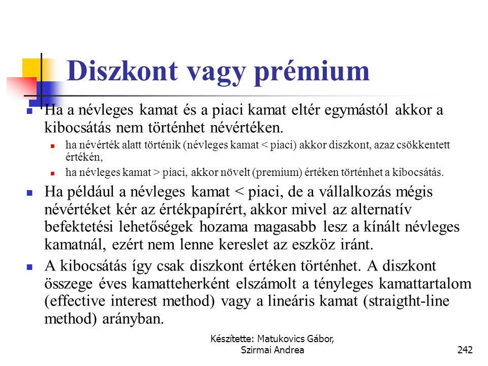 Készítette: Matukovics Gábor, Szirmai Andrea241 Hosszú lejáratú kötelezettségek