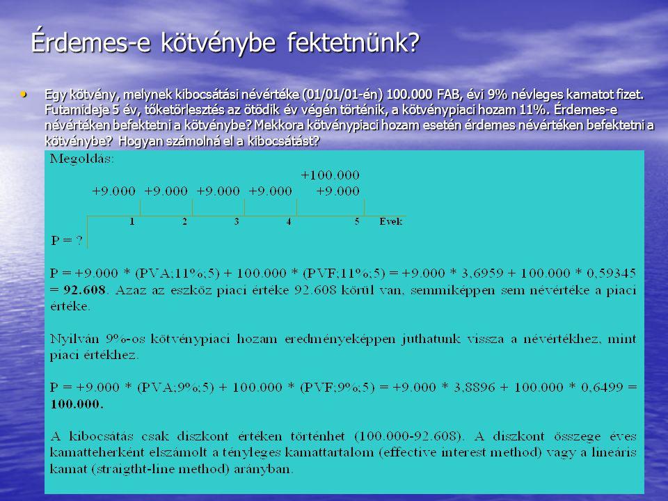 Készítette: Matukovics Gábor, Szirmai Andrea242 Diszkont vagy prémium  Ha a névleges kamat és a piaci kamat eltér egymástól akkor a kibocsátás nem tö