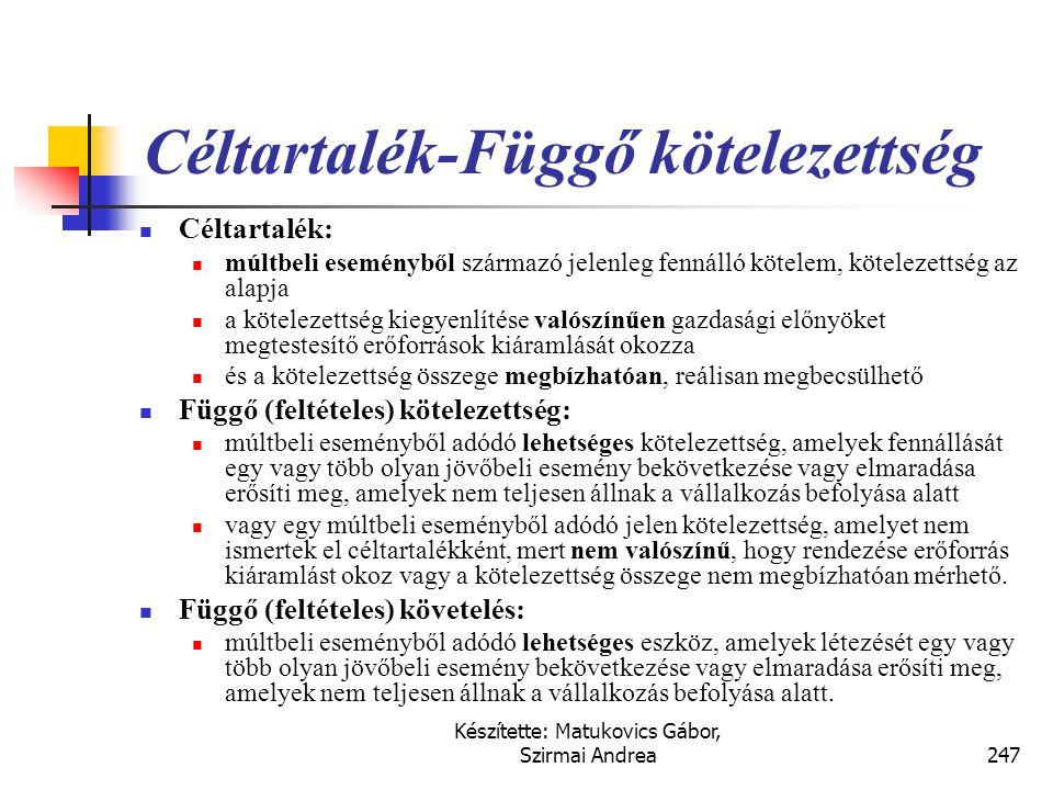 Készítette: Matukovics Gábor, Szirmai Andrea246 Céltartalékok, függő tételek