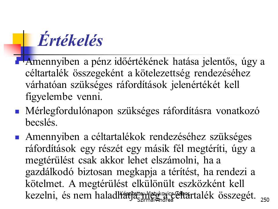 Készítette: Matukovics Gábor, Szirmai Andrea249 Függő tételek – eszközök és kötelezettségek Követelés (nem függő)HasznaBiztos (befolyt, késedelmi kama