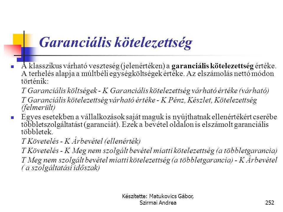 Készítette: Matukovics Gábor, Szirmai Andrea251 Perek, adóellenőrzések várható veszteségei  A perek, adóellenőrzések várható veszteségeinek bemutatás
