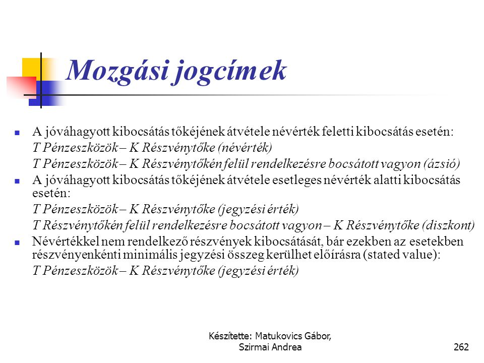 Készítette: Matukovics Gábor, Szirmai Andrea261 Jegyzett tőke