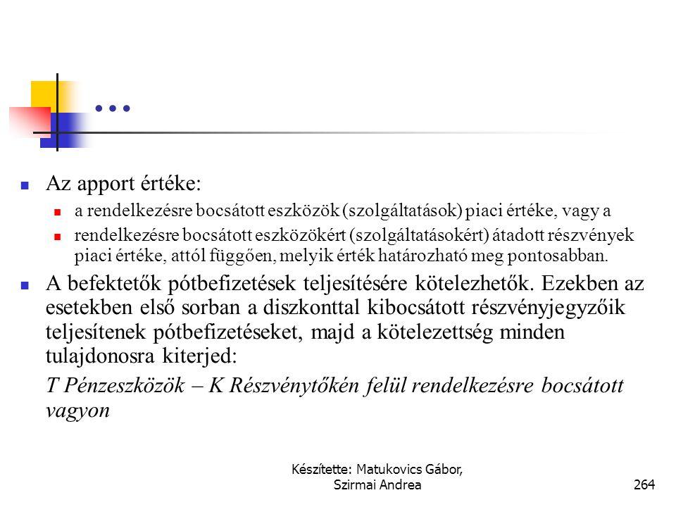 Készítette: Matukovics Gábor, Szirmai Andrea263 …  Gyakran elválik egymástól a jegyzés és a jegyzéshez kapcsolódó előjegyzéssel rendelkezésre bocsáta