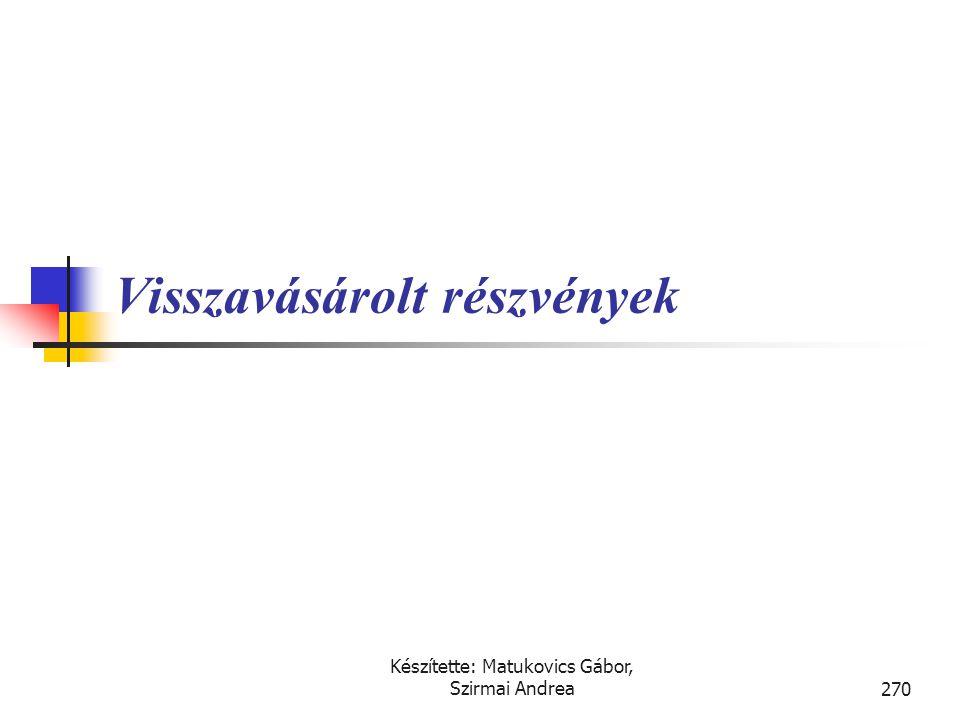 Készítette: Matukovics Gábor, Szirmai Andrea269 Megoldás • A) esetben T Használati jog – K Részvénytőke 80 T Használati jog – K Részvénytőkén felül re