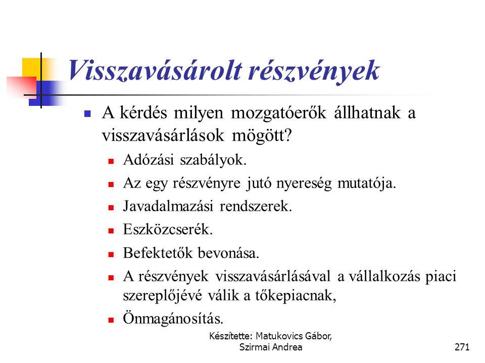 Készítette: Matukovics Gábor, Szirmai Andrea270 Visszavásárolt részvények
