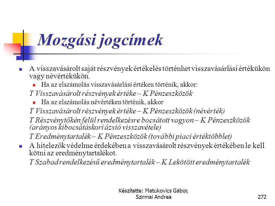 Készítette: Matukovics Gábor, Szirmai Andrea271 Visszavásárolt részvények  A kérdés milyen mozgatóerők állhatnak a visszavásárlások mögött?  Adózási