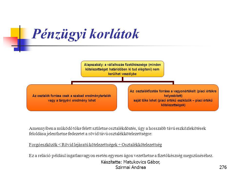 Készítette: Matukovics Gábor, Szirmai Andrea275 Eredménytartalék  Az eredménytartalék összege a vállalkozás által mindenkor megtermelt jövedelmek tul