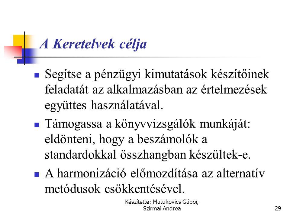 Készítette: Matukovics Gábor, Szirmai Andrea28 Fontosabb kapcsolódó nemzetközi szabályok  IFRS (IAS)  Keretelvek  IAS 1., A pénzügyi kimutatások pr