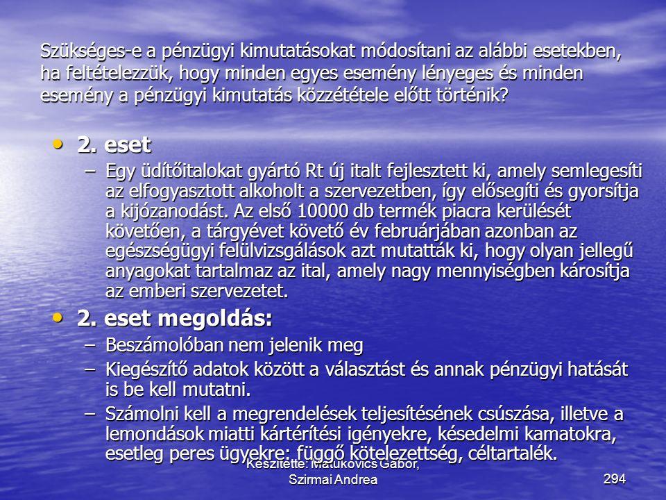 Készítette: Matukovics Gábor, Szirmai Andrea293 Szükséges-e a pénzügyi kimutatásokat módosítani az alábbi esetekben, ha feltételezzük, hogy minden egy