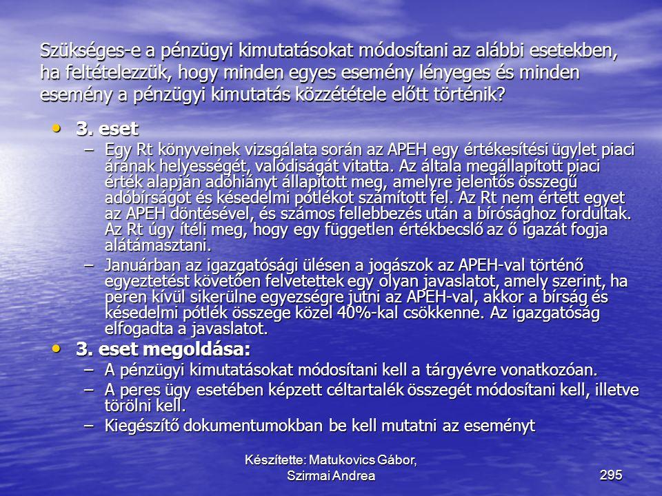 Készítette: Matukovics Gábor, Szirmai Andrea294 Szükséges-e a pénzügyi kimutatásokat módosítani az alábbi esetekben, ha feltételezzük, hogy minden egy