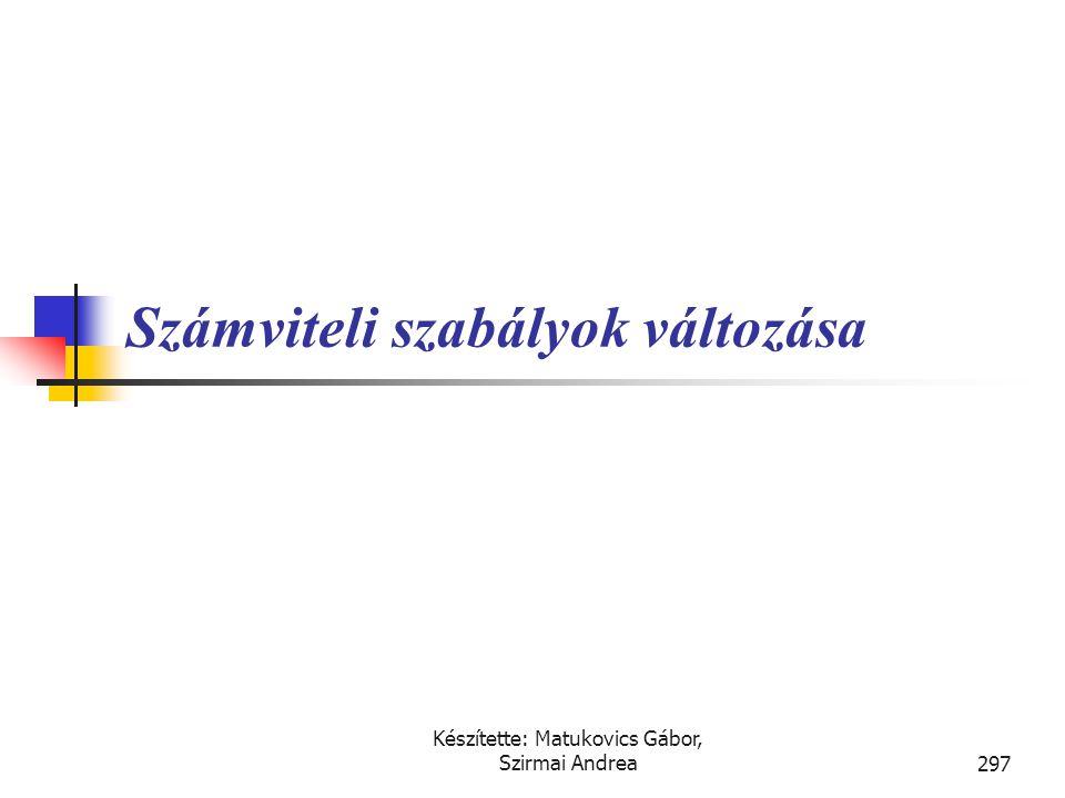 Készítette: Matukovics Gábor, Szirmai Andrea296 Szükséges-e a pénzügyi kimutatásokat módosítani az alábbi esetekben, ha feltételezzük, hogy minden egy