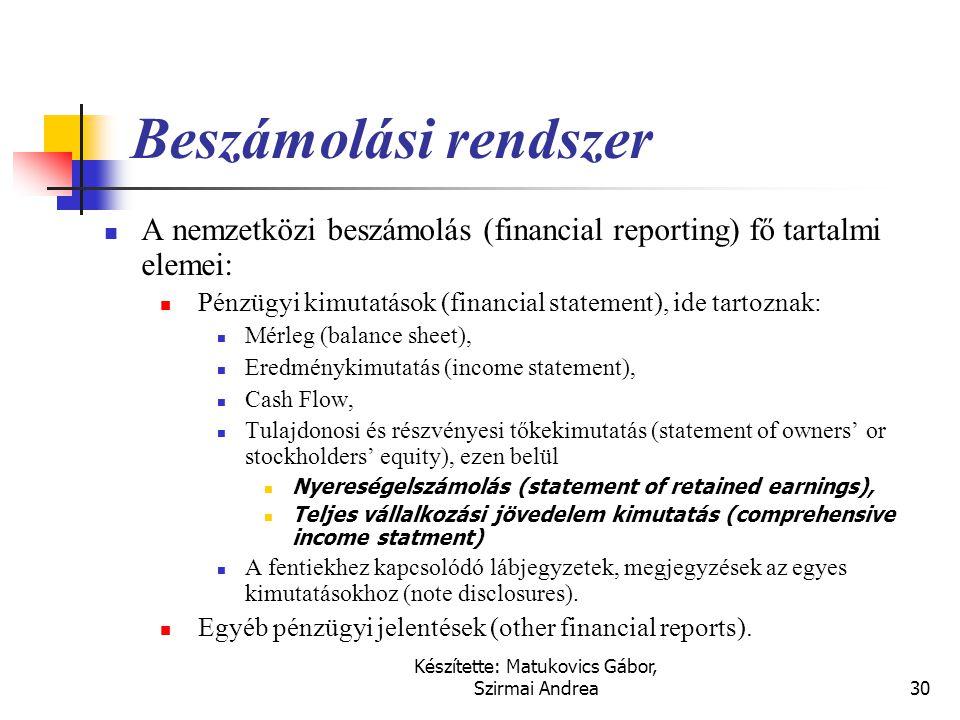Készítette: Matukovics Gábor, Szirmai Andrea29 A Keretelvek célja  Segítse a pénzügyi kimutatások készítőinek feladatát az alkalmazásban az értelmezé