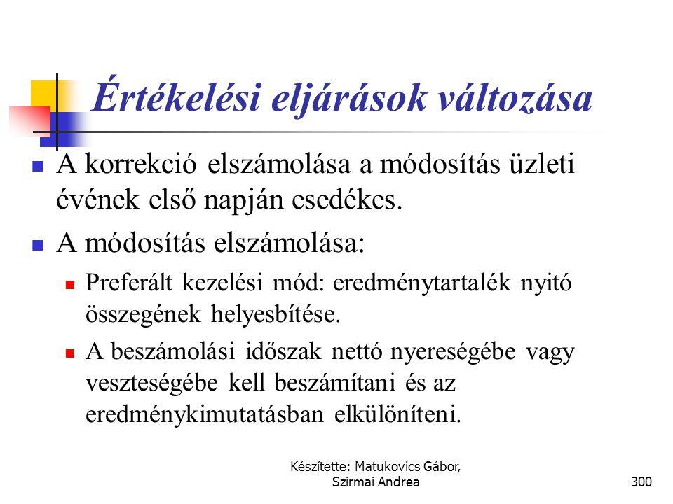 Készítette: Matukovics Gábor, Szirmai Andrea299 A számviteli becslések változása  A becslések a jövőbeni várakozások függvényében változhatnak.  A k