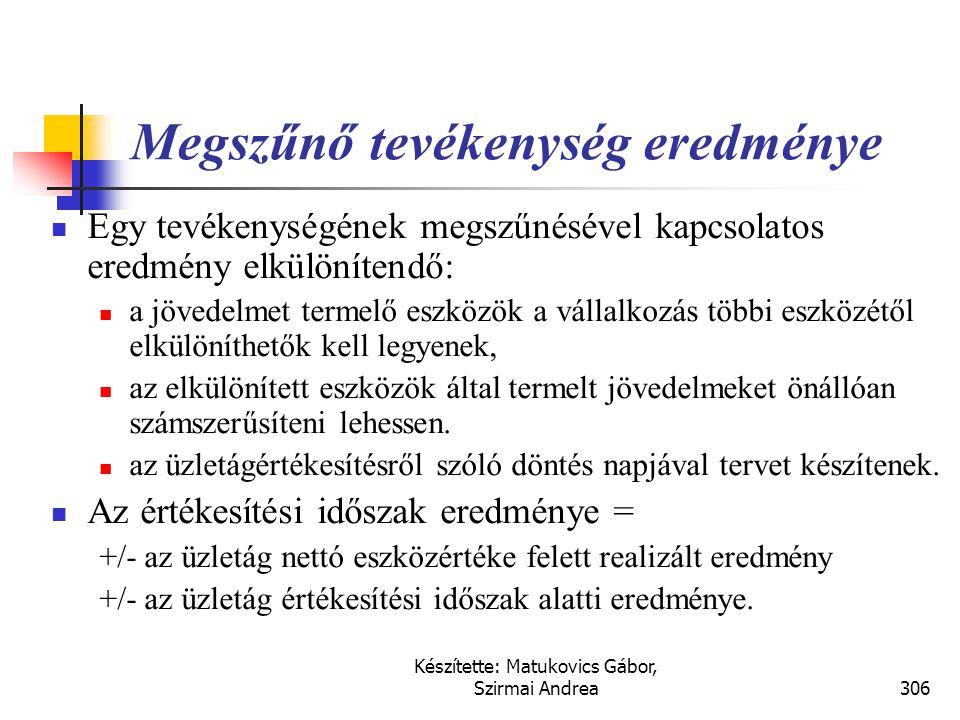Készítette: Matukovics Gábor, Szirmai Andrea305 Megszűnő tevékenység eredménye
