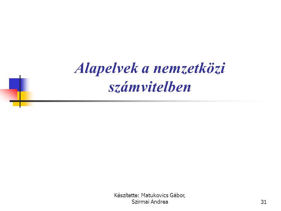 Készítette: Matukovics Gábor, Szirmai Andrea30 Beszámolási rendszer  A nemzetközi beszámolás (financial reporting) fő tartalmi elemei:  Pénzügyi kim