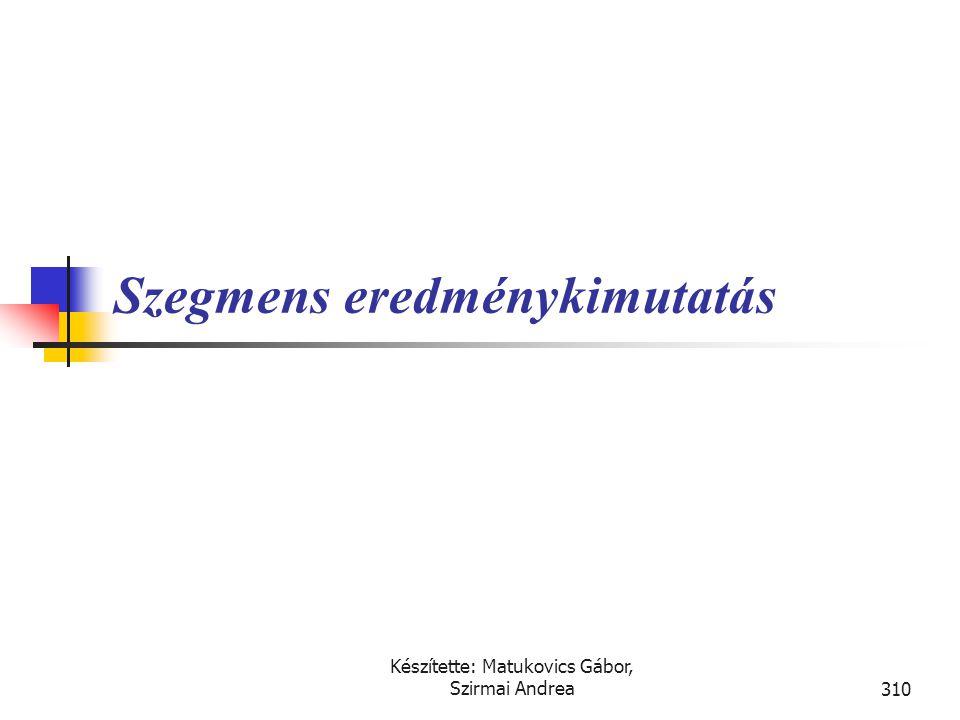 Készítette: Matukovics Gábor, Szirmai Andrea309 Megoldás • Megváltoztatott élettartamú berendezés korábbi évi amortizációs többlete - Számviteli polit