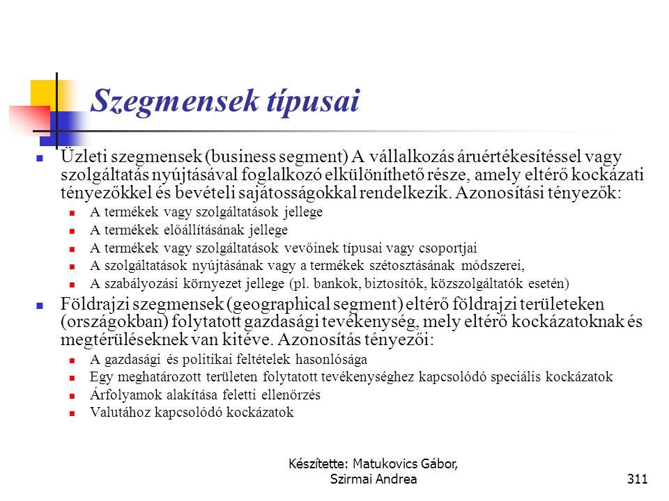Készítette: Matukovics Gábor, Szirmai Andrea310 Szegmens eredménykimutatás